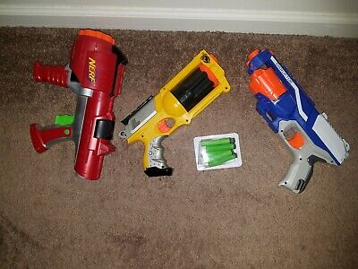 LOT OF 3 NERF GUNS 6 DARTS N-STRIKE ELITE DISRUPTOR MAVERICK REV 6 DART TAG