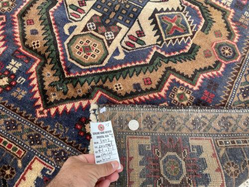 4x7 VINTAGE RUG HAND-KNOTTED WOOL ANTIQUE oriental blue handmade kazak 4x6 4x8