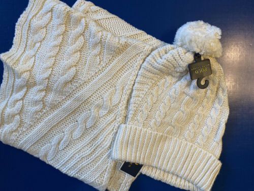 POLO RALPH LAUREN CREAM KNIT INFINITY SCARF AND STOCKING HAT - NWT