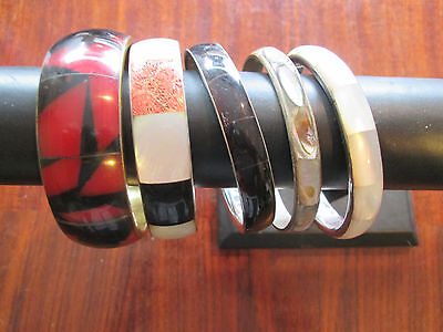 Tortoise Shell Mix - Vintage Mixed Lot of 5 Shell Bangle Bracelets Abalone MOP Tortoise Set in Metal