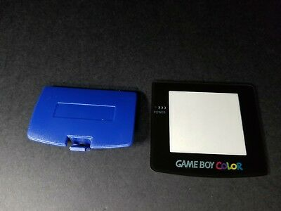 (Navy Blue battery Cover compartment & Glass Screen Lens for Game Boy Color  D51)