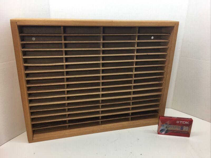 NAPA VALLEY Wood Cassette Storage Rack/Case/Holder - Holds 64 Tapes w / Tape