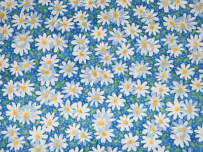 BTY Blue & White DAISY Floral Print 100% Cotton Quilt Crafting Fabric by Yard