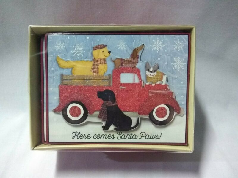 """New """"Here comes Santa Paws!"""" 18 holiday cards boxed"""