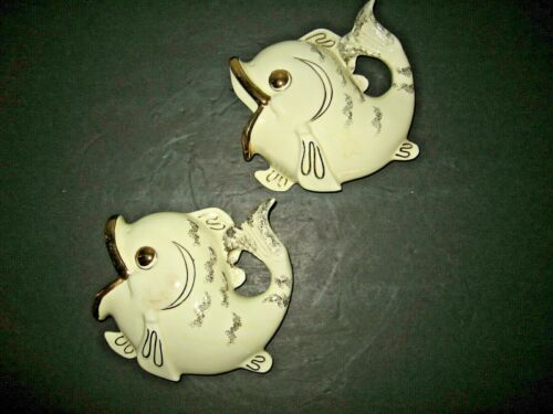 Vintage 2 Ceramic White with Gold Accents Fish Wall Pocket Vase Hanging Planter