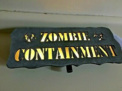 Halloween prop PROTOTYPE ZOMBIE CONTAINMENT LIGHT UP SIGN. LAWN STAKE. AMAZING.