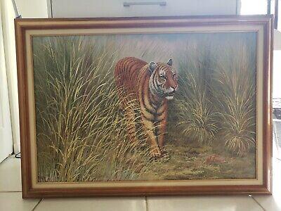 Beautiful Handpainted Original Vintage Tiger Oil Painting by Watson Wood Frame
