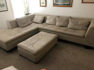 Beige Leather Lounge Suite