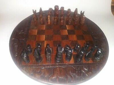 Hand Carved Round Vintage African Wooden Chess Board Set w/ figures. Decorative Hand Decorated Chess Set