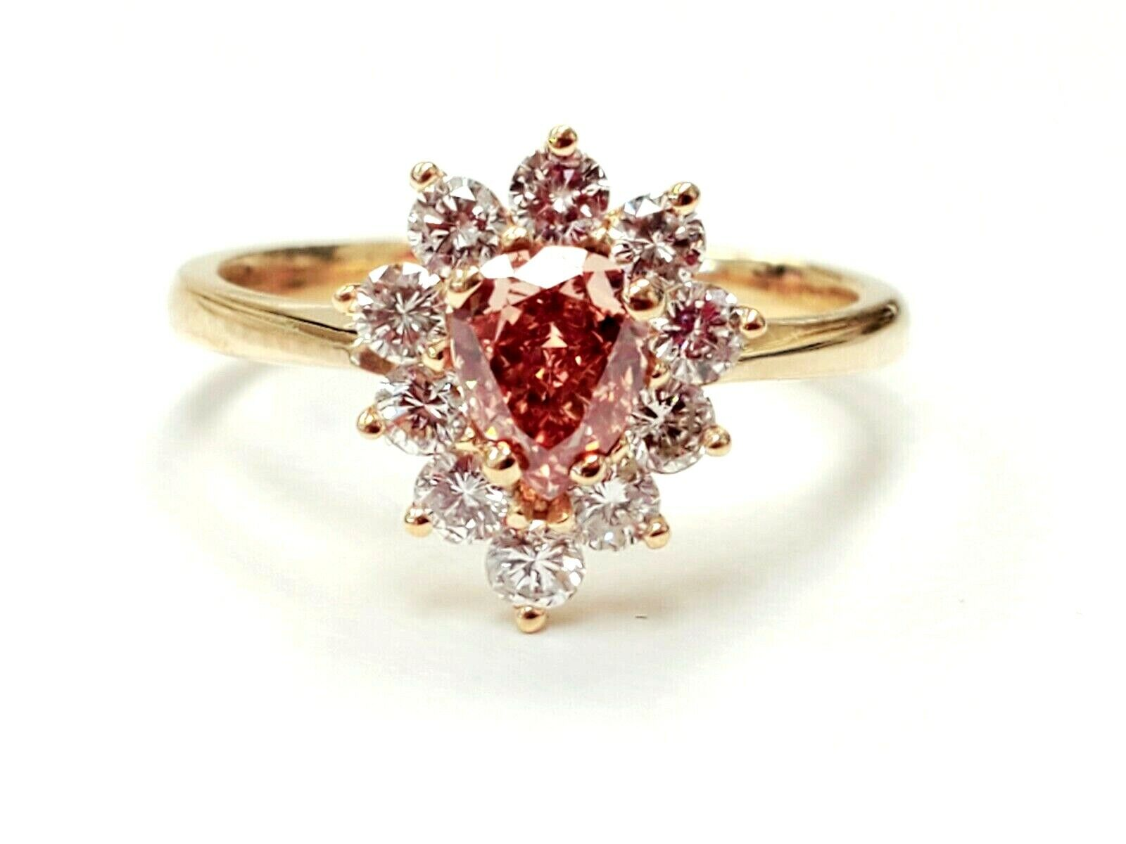 Fancy Pink Diamond Ring 18k Yellow Gold 0.80CT GIA Certified Pear Cut Brilliant