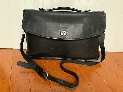 Vintage Coach Lexington #5265 Flap Over Briefcase  Black Leather Messenger Bag Leather Flap Over Briefcase