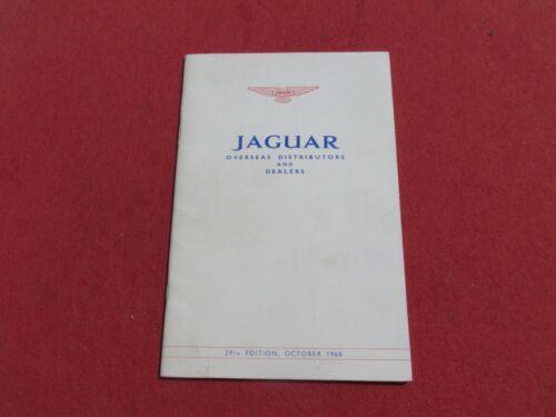 Jaguar Original OCT 1968 Overseas Distributors and Dealers Booklet 29th Edition