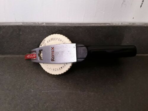"Vintage Avery Rotex Label Maker 1/2"" Heavy Duty Chrome/Black"