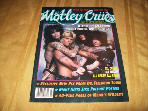 MOTLEY CRUE VINTAGE MAGAZINE RIP 1990 With NIKKI SIXX HUGE POSTER!