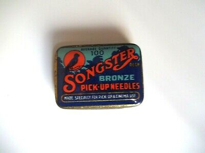 Antique SONGSTER BRONZE PICK-UP GRAMOPHONE Tin w/ Some Needles