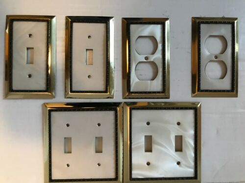 Lot of 6 Art Deco  Brass Electrical Outlet Switch Covers Wall Plates
