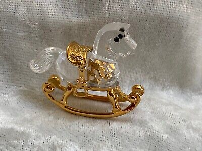 "Cute Swarovski ""Crystal Memories"" Mini Rocking Horse In Mint Condition-Gold Trim"
