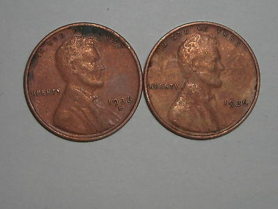 wheat penny 1936D,1936 LINCOLN CENT CH AU PENNY  LOT OF 2 NO RESERVE!