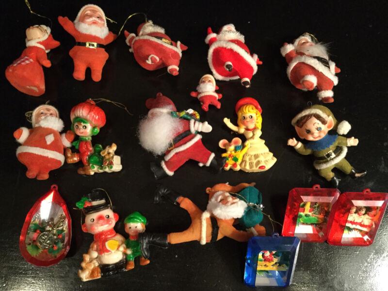 Lot Of Vintage Christmas Ornaments Felt & Plastic 50