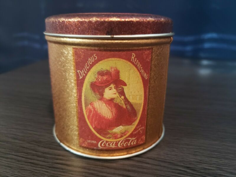 Vintage 1985 Small Round Coca Cola Tin