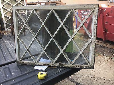 "antique c1900 MISSION style TUDOR diamond pane WINDOW door frame 36"" x 26 x 1.25"