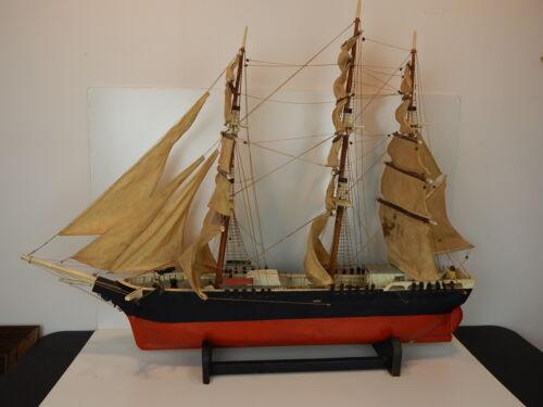 "Primitive American Folk Art Clipper Ship Model ""Andrew Jackson"" Mystic,Ct Ship"
