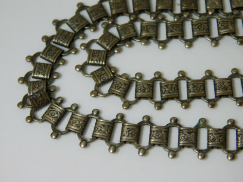 """Old Victorian X Long 36"""" Silver Book Chain Link Necklace Cb 47"""