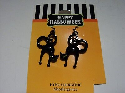 HAPPY HALLOWEEN BLACK CAT Earrings, Fast, Free Ship - Happy Halloween Cat