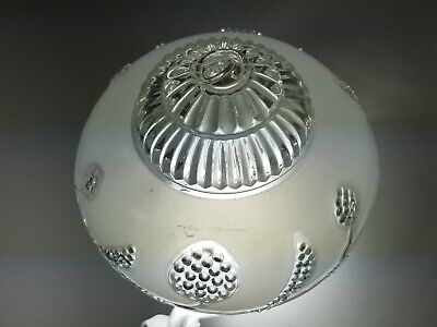 Vintage Frosted White Glass Globe Shade Ceiling Mount Porch Light Floral Moulded