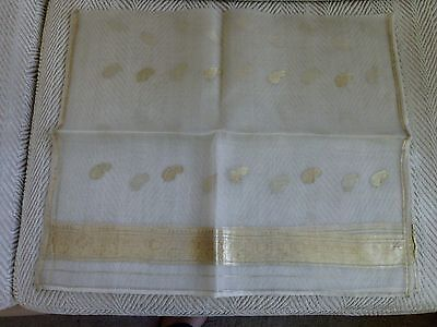 Vintage white silk and metallic gold hand-woven scarf from India