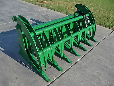 John Deere Tractor Loader Attachment 74 Root Rake Grapple Bucket - Ship 199