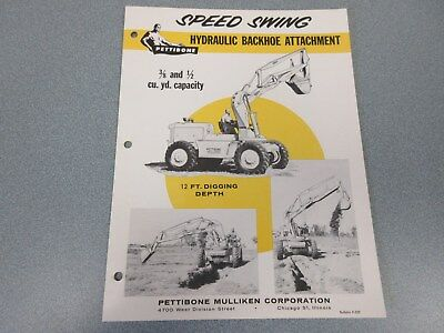 Rare Pettibone Speed Swing Backhoe Sales Sheet