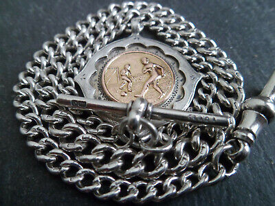 Antique Graduated Solid Silver Albert Pocket Watch Chain + 9ct Gold Football Fob