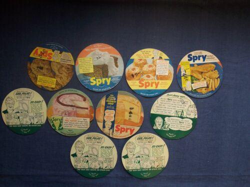 "lot #1 of 10 vintage Spry recipe lids / discs - 5"" diameter  food advertising"