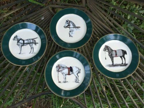 Rare Set of 4 Ralph Lauren RL Equestrian Plates Horses in Dress Horse Elegant