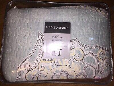 - Madison Park Lucinda 5 Piece Reversible Cotton Sateen Coverlet Set King/Cal king