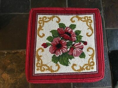 Tapestry stool. Red.  Floral