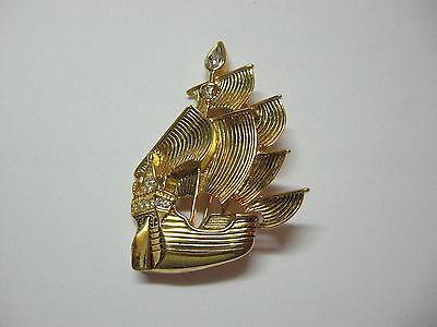 Vintage Disney PIRATE SHIP PIN Peter Pan - Gold Plated Metal w Clear Rhinestones