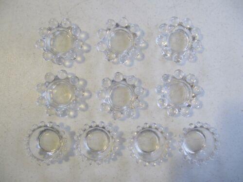 10 Imperial Candlewick Crystal Salt Dips Salt Cellar - Six 9 Bead & Four 16 Bead