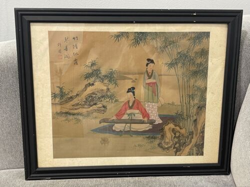 Chinese Unknown Age Signed Painting on Silk or Fabric Two Women 1 w/ Instrument