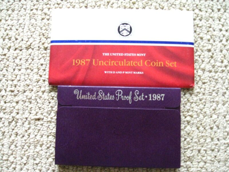1987 Proof & Uncirculated US Mint Coin Sets P D S - 15 Coins