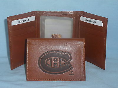 MONTREAL CANADIENS Leather TriFold Wallet NEW brown 3 k Montreal Canadiens Leather