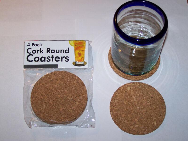 "(4-pack) 3.5"" Round Flexible Cork Beverage Drink Coasters"