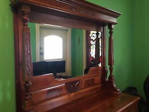 Late Victorian Walnut Mirror Back Sideboard