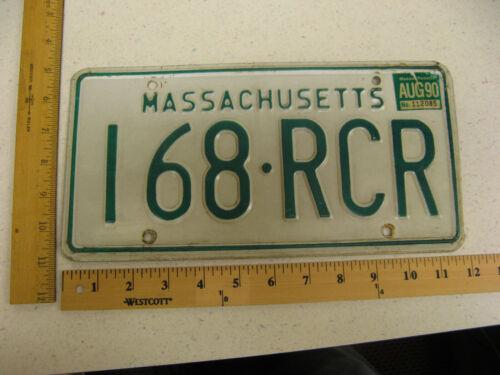 1990 90 MASSACHUSETTS MA MASS LICENSE PLATE TAG #168-RCR NATURAL STICKER