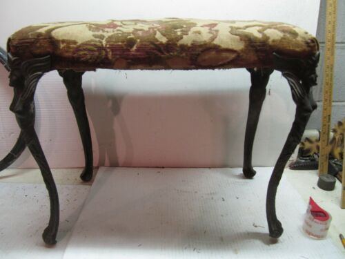 VINTAGE ANTIQUE FURNITURE FOOT STOOL WITH ORNATE LEGS