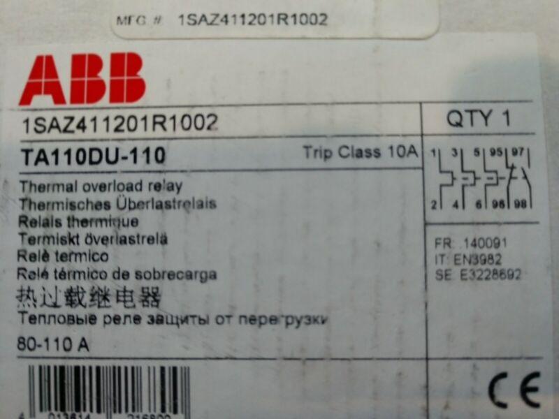 ABB TA110DU110 Thermal Overload Relay Type TA; Class 10; 80-110A