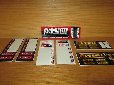 Lot of Vintage Advertising Bumper Sticker Decals FLOWMASTER CHAMPION RUSSELL
