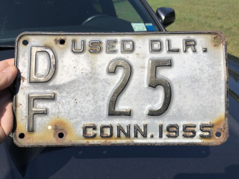 1955 Conn Used DLR License Plate