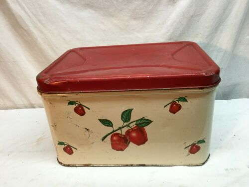 Vtg Primitive Cottage Metal Tin Bread Box  Red & White Retro 40s Apple basket